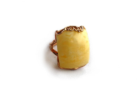 Gold Plated Silver Ring With Amber Insert: 17.5 size
