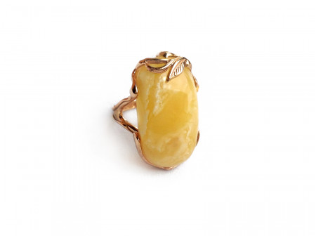 Gold Plated Silver Ring With Amber Insert: 16.5 size
