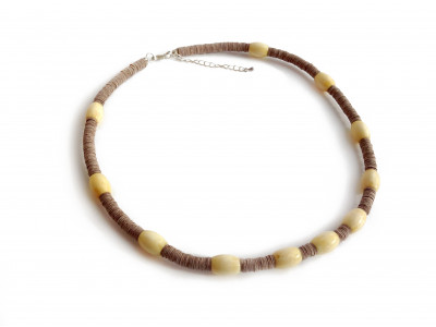 Modern Leather & Amber Necklace