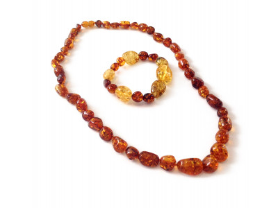 "Amber Jewelry Set: ""Cognac"" Color"
