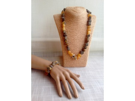 Jewelry Set With Untreated Amber