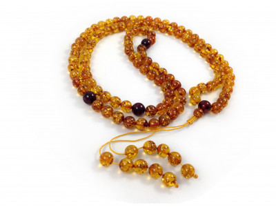 Adjustable Zen Mala With 108 Cognac Amber Beads: (4 sections) 8mm