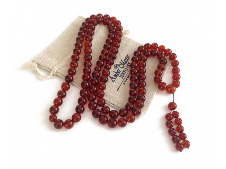 Tibetan Mala With 108 Cherry Amber Beads: 12mm