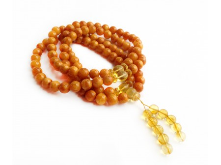 Tibetan Buddhist Mala With 108 Pressed Yellow Amber Beads