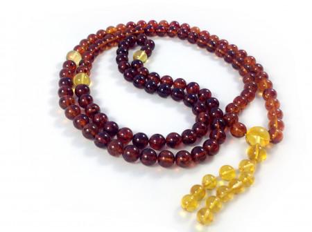 TIBETAN BUDDHIST MALA 108 CHERRY COGNAC AMBER BEADS