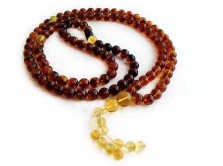 TIBETAN BUDDHIST MALA 108 AMBER BEADS