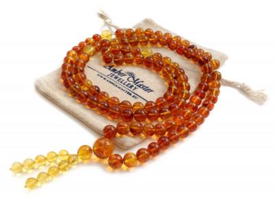 Tibetan Buddhist Mala With 108 Cognac Amber Beads