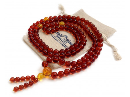 Tibetan Buddhist Mala With 108 Cherry Amber Beads