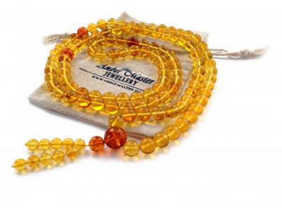 Tibetan Buddhist Mala With 108 Lemon Amber Beads