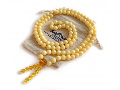 Tibetan Buddhist Mala With 108 White Pressed Amber Beads