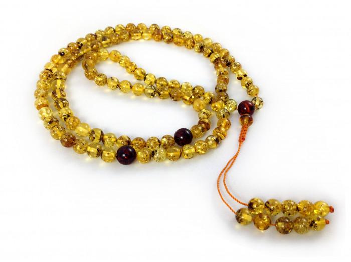 Green Amber Tibetan Buddhist Zen Mala