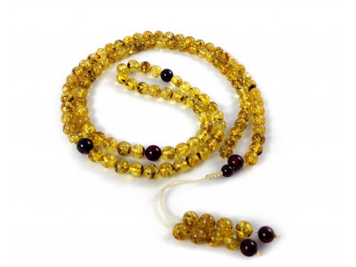 Adjustable Zen Mala With 108 Green Amber Beads: (4 sections) 8mm