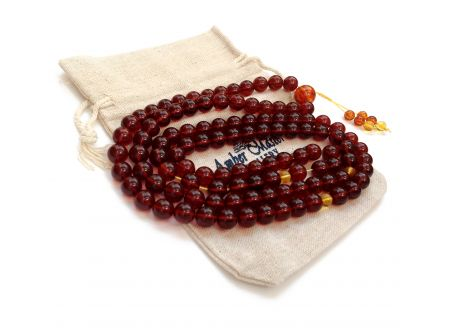 Tibetan Mala With 108 Cherry Amber Beads