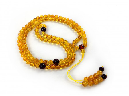 Adjustable Zen Mala With 108 Yellow Amber Beads: 7mm