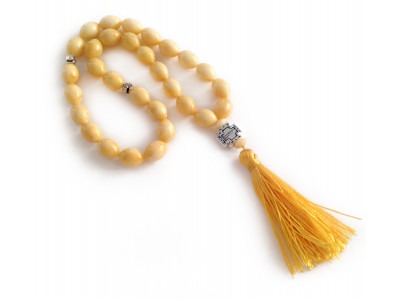 White Pressed Amber Christian Rosary