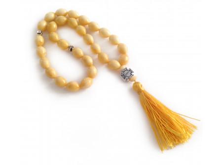 White Pressed Amber Christian Rosary