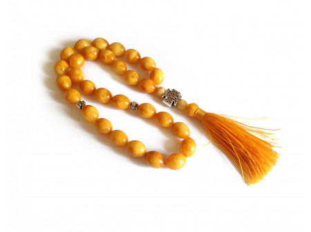Orange Pressed Amber Christian Rosary