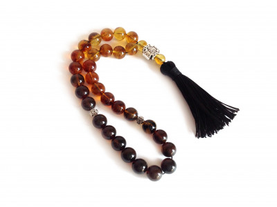 Transparent Amber Christian Rosary