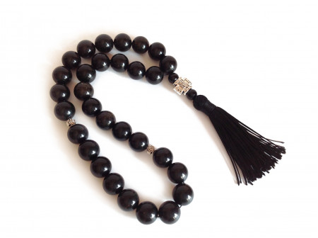 Black Amber Christian Rosary: 13mm