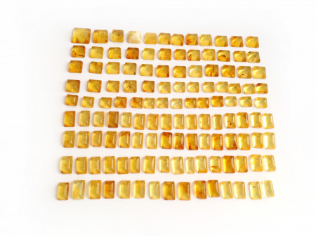 Set of 126 Amber Cabochons: Squares & Rectangles