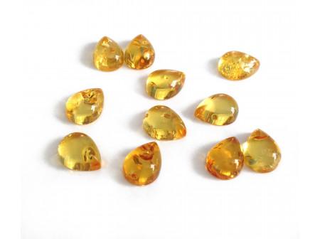 Set of 11 Drop Shape Yellow Amber Cabochons