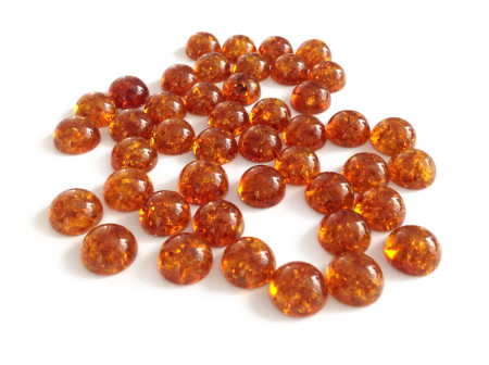 Set of Round Cognac Amber Cabochons