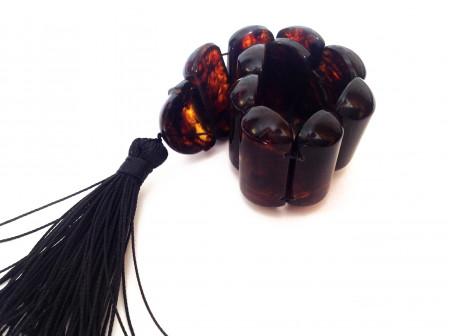 "Dark Amber Rocking Rosary ""Snake"""